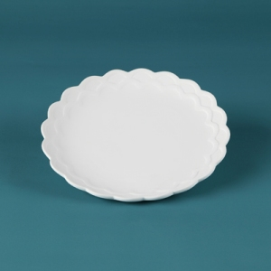 31217 Duncan Bisque Scalloped Salad Plate
