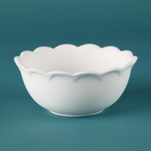 31218 Duncan Bisque Scalloped Bowl