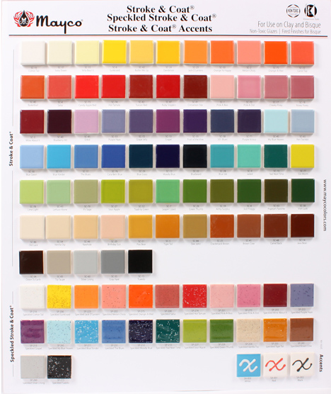 Mayco Gaze color Chip Board